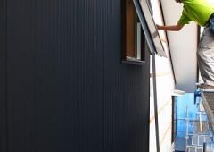 外壁施工中 at 変形地に建つお日様をむかえる家